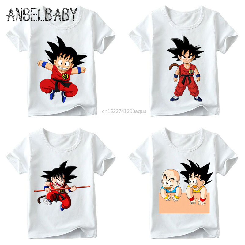 Baby Boys/Girls Cartoon Cute Little Goku Match Clothes Children Summer Anime Dragon Ball Z Tops Kids Funny T Shirt,ooo5072