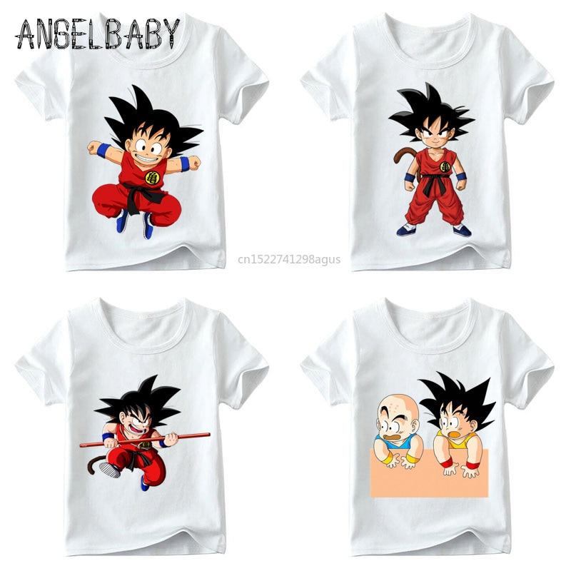 Baby Boys/Girls Cartoon Cute Little Goku Match Clothes Children Summer Anime Dragon Ball Z Tops Kids Funny T Shirt,ooo5072
