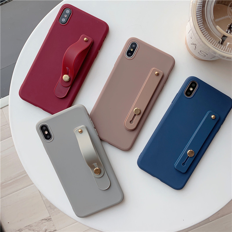 Simple Candy Color Wrist Strap Hand Band Soft Silicon <font><b>Case</b></font> For <font><b>Samsung</b></font> Galaxy S6 <font><b>S7</b></font> S8 S9 S10 Lite <font><b>Edge</b></font> Plus Holder Cover Caqa image