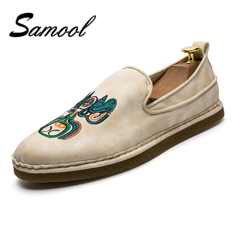Samool Men Casual Suede Loafers Solid Leather Driving Moccasins Slip on Flat Shoe Men Formal Loafers Shoes Male Dress Loafer KX4 branded men s penny loafes casual men s full grain leather emboss crocodile boat shoes slip on breathable moccasin driving shoes