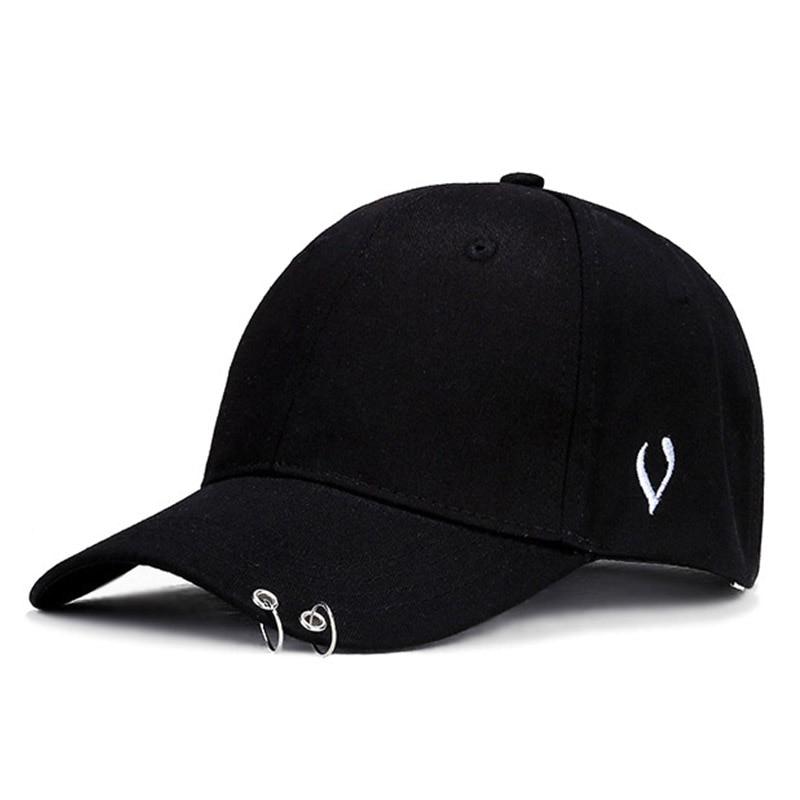Hot selling 2017 New CL bigbang G-gdraon BTS JIMIN SUGA V Fashion K POP Iron Ring Hats adjustable Baseball cap100% cotton  hot selling bts suga fashion k pop xxxx embroidery hats adjustable baseball cap