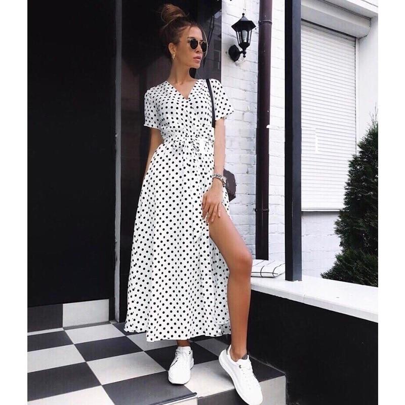 Women Polka Dot Print A Line Party Dress Sexy V Neck Short Sleeve Split Dress 2020 Summer Casual Beach Boho Maxi Dress Vestidos