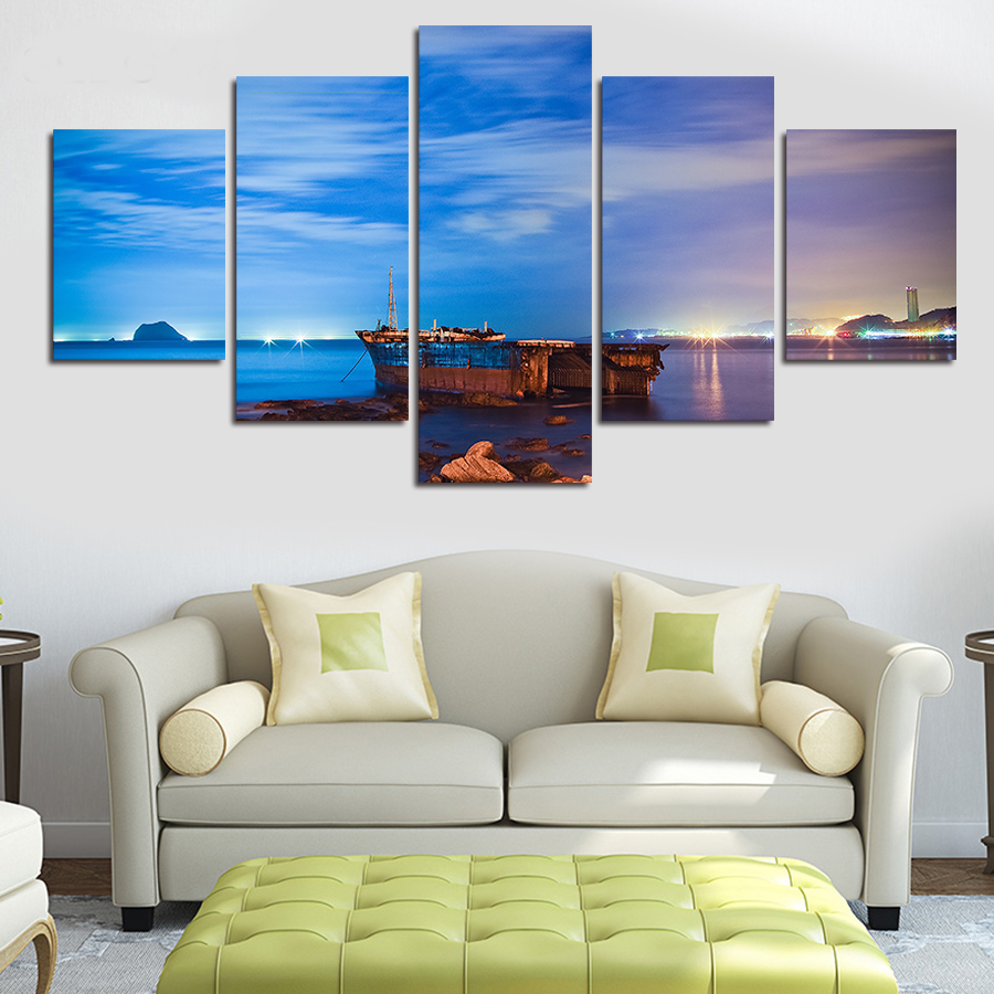 2016 top fashion fallout unframed 5 panels ocean landscape for 10x20 living room