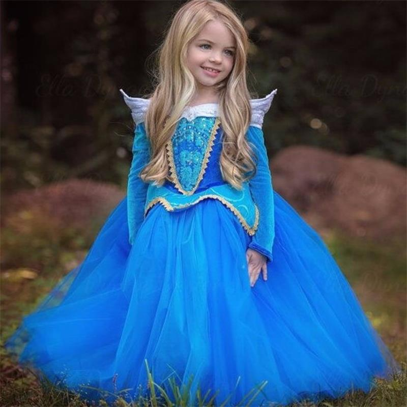 New Girls Dress Cinderella Dresses Children Sleeping Beauty Princess Dress Rapunzel Aurora Kids Party Dress Costume Clothing