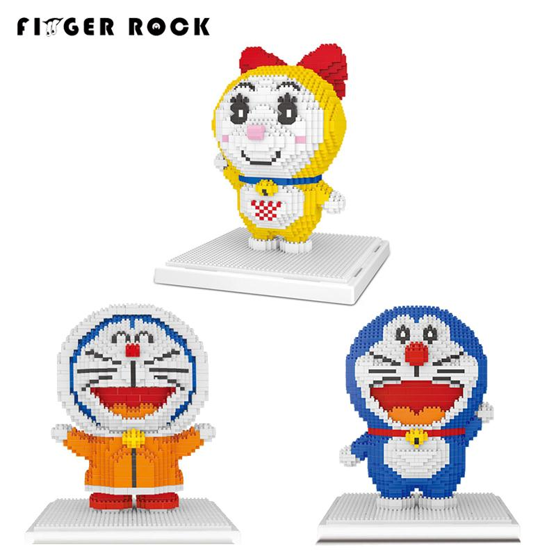 Finger Rock Anime Action Figures Doraemon Model Building Kits 1000+pcs Bricks Building Blocks Christmas Gifts Classic Toys