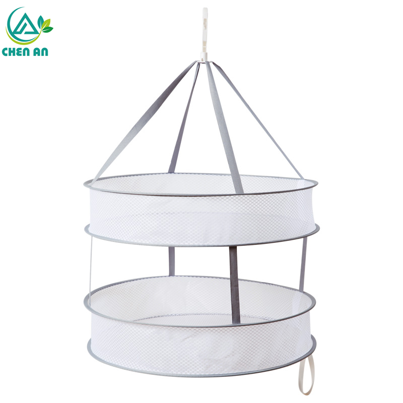 New Practical S Hook Drying Rack Folding Hanging Clothes Laundry Basket Dryer Net Double-layer Wash Drying Socks Clothes Basket