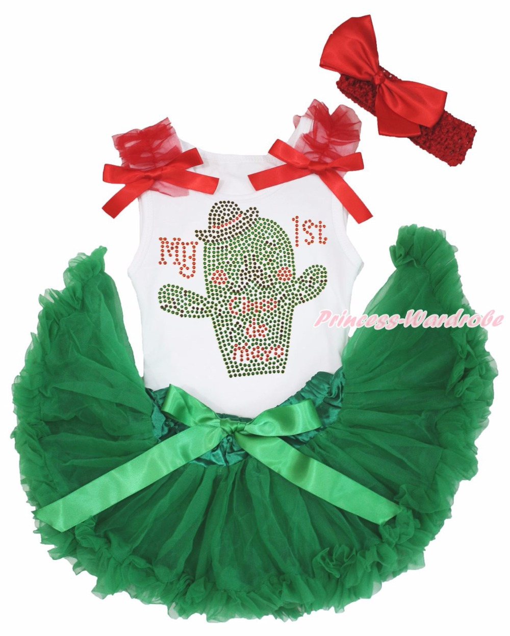 Cinco de Mayo MY 1ST Cactus White Top Green Girls Mexico Baby Skirt Outfit 3-12M цена