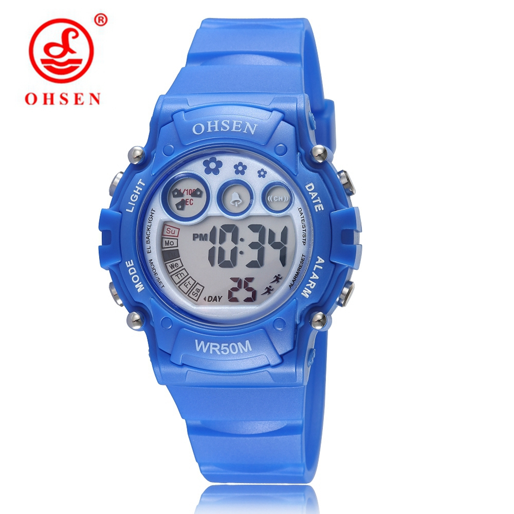 New OHSEN Brand Digital LED Sport Boys Kids Watches Gifts 50M Diving Silicone Strap Blue Fashion Cartoon Children Wristwatches