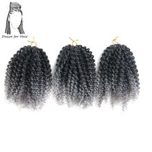 Desire for hair 1pack 3 bundles 8inch 85g crochet kinky curly synthetic braids hair extensions ombre black grey red purple color