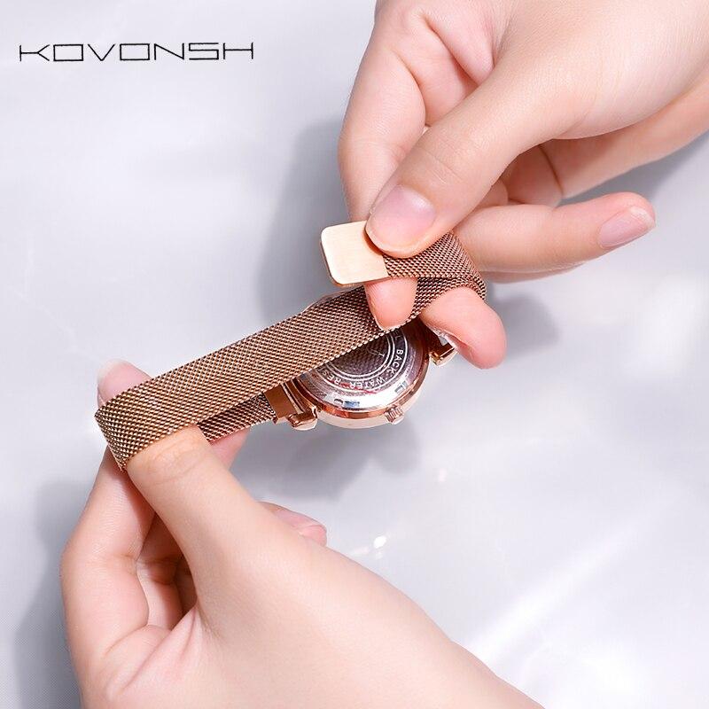 KOVONSH femmes étoilées montres magnétique maille ceinture bande dame montre en acier inoxydable de luxe mode robe montre Quartz montres - 6