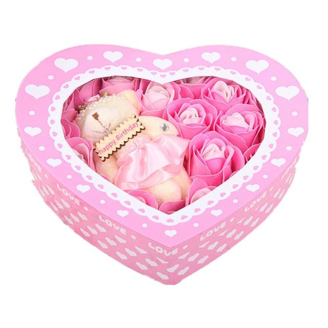 20pcs / Box Practical Handmade Soap Roses Holiday Gift Box Of Soap Roses Romantic Colorful Roses