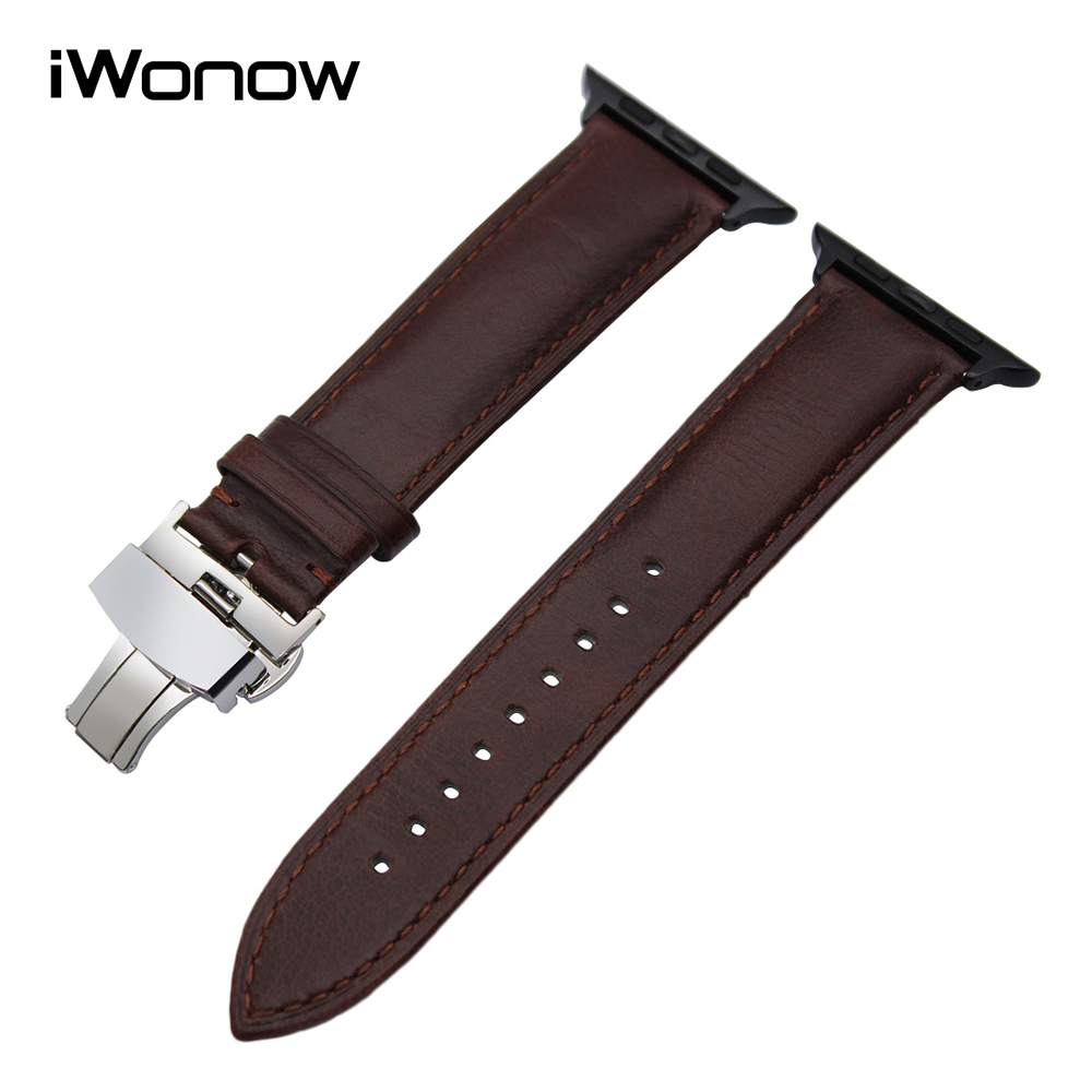 Italian Calf Genuine Leather Watchband + Adapter for 38mm 42mm iWatch Apple Watch Series 1 & 2 Butterfly Buckle Band Wrist Strap kakapi crocodile skin genuine leather watchband with connector for apple watch 38mm series 2 series 1 pink