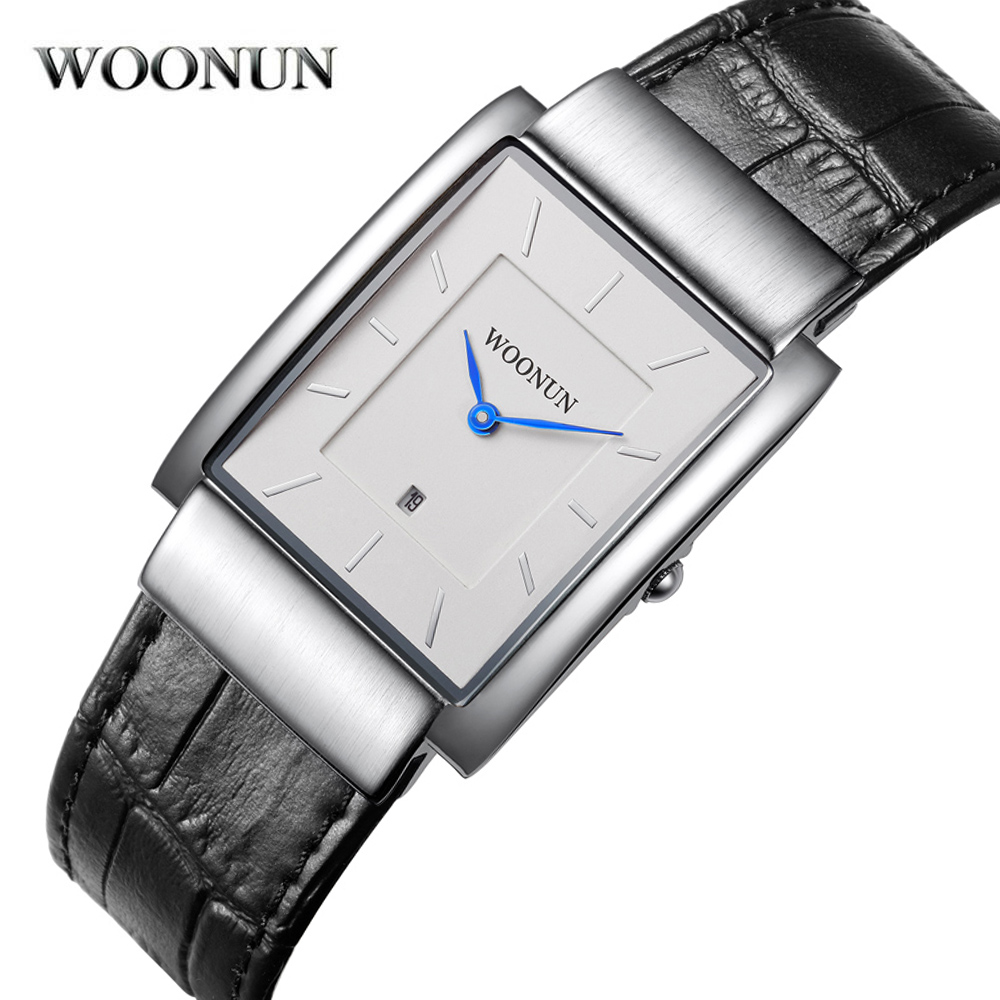 цены  New Fashion Casual Men Watch WOONUN Famous Brand Leather Strap Analog Quartz Rectangle Watches Men Super Slim Watches For Men