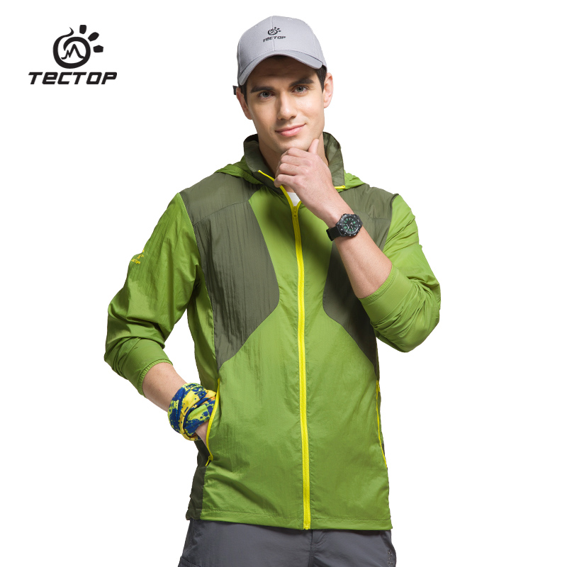 Hiking Clothings Tectop Spring Summer Men Outdoor Hiking Camo Jacket Mens Quick Dry Breathable Ultra-thin Windproof Walking Stretch Trench Coats