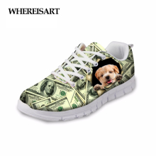 WHEREISART 2019 New Fashion Women Spring Casual Flat Shoes Stylish Pet Dog Dollar Printed Female Lace-up Flats Sapato Feminino