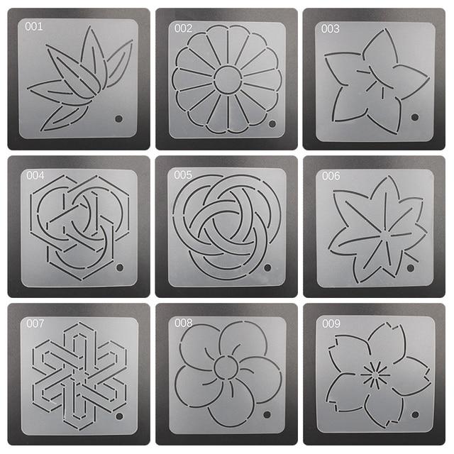 9pcsset Semi Transparent Plastic Embroidery Templates12cm12cm