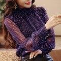 Women Bow Point Chiffon Blouses Feminine Long Sleeve Spring Loose Shirt New Style Printed Dot Tops