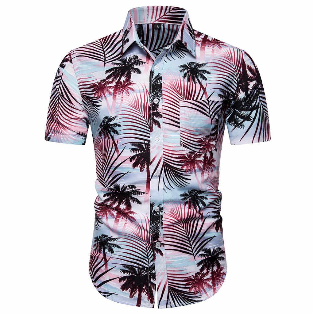 夏ハワイアン男性シャツカジュアル男性の半袖シャツカジュアルボタンビーチ速乾性ブラウストップストリートカミーサ masculina