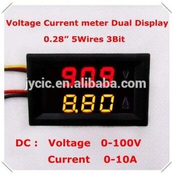 0.28Digital Ammeter Voltmeter DC0-100V/10A dual LED Display Red+yellow