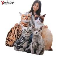 50/75 cm Hurtownie 2017 Nowy Styl Sztuczne Kot Pluszowe Zabawki Drukowanie 3D Kot Poduszki Poduszki Tkaniny Lalki Urodziny prezent dla dzieci