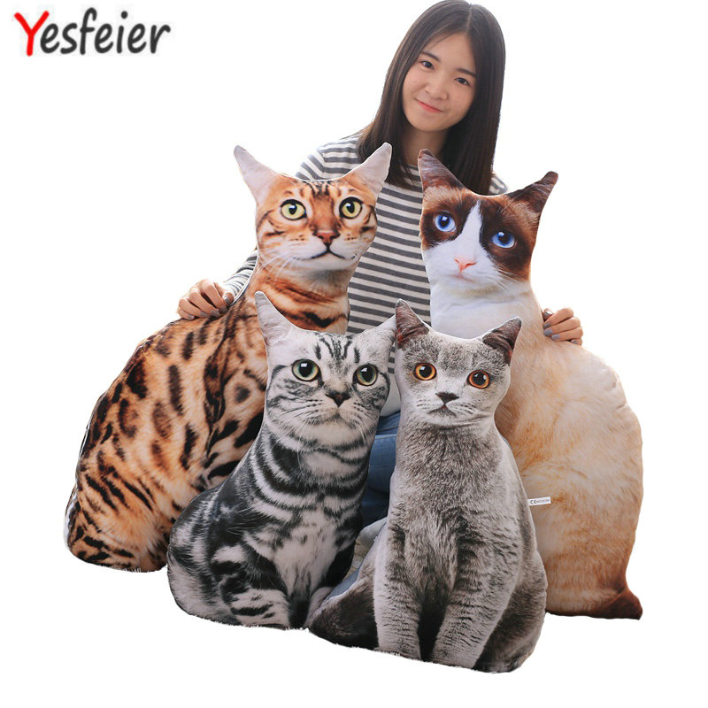 50/75cm Wholesale 2017 New Style Artificial Cat Plush Toys 3D Printing Cat Pillow Cushion Cloth Doll Birthday Gift baby