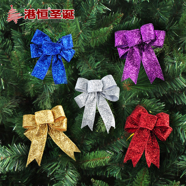 Christmas Tree Bow.Us 2 7 3pcs Lot Glitter Cloth Christmas Bow Knot Christmas Tree Bow Knot Decor Ornaments Wedding Merry Xmas Party Garden Bows Ornament In Party Diy
