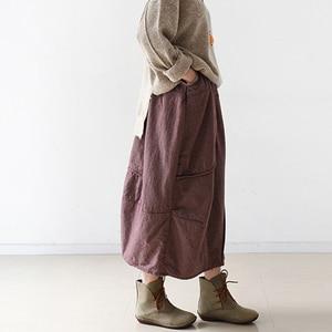 Image 5 - Женская винтажная клетчатая юбка Johnature, Повседневная Мягкая Свободная юбка А силуэта из хлопка и льна, красного и серого цвета, для осени, 2020