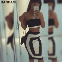 Leger Babe 2019 Fashion New Arrive Black White Club Night Out Wear Women Outfits Strapless Crop Top Sexy Bandage Two Piece Set