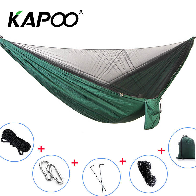 Double Mosquito Net Hammock Double Portable Parachute Outdoor Hammock Outdoor Furniture Picnic Mat Camping Hammock Swing Chair fashion parachute fabric hammock double person portable mosquito net hammock outdoor furniture camping travel garden swing hamak