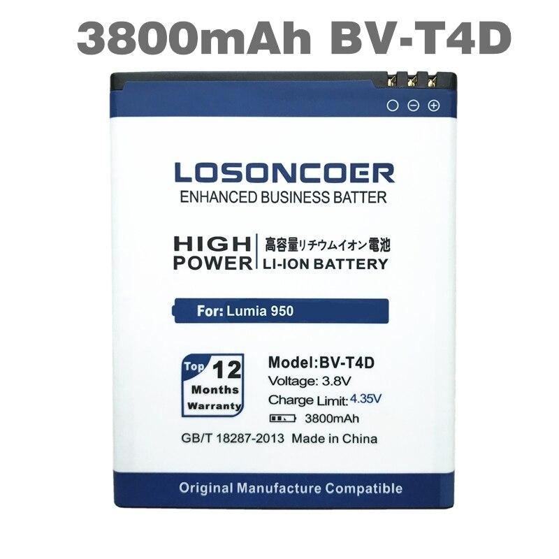 imágenes para LOSONCOER 3800 mAh BV-T4D/BVT4D Nokia Lumia 950 de La Batería de Reemplazo para Microsoft XL CityMan 940 XL RM-1118 RM-1116 Batería
