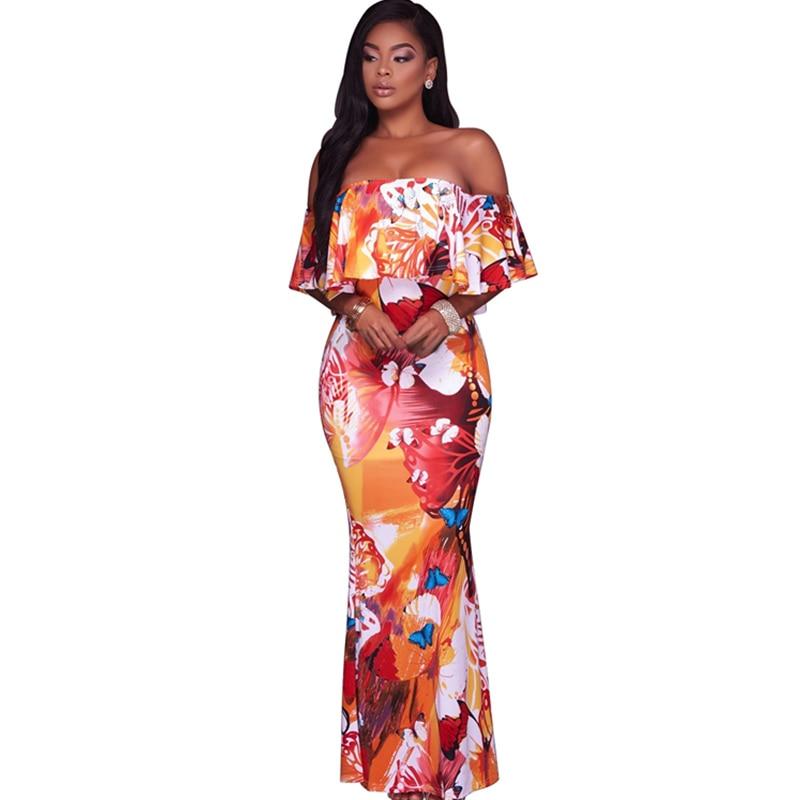 2017 Summer Ruffle Print Maxi Dress Women Robe Sexy Off