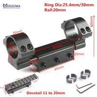 Mizugiwa parte superior lisa anéis duplos 25.4mm/30mm com pino de parada adaptador 20mm trilho picatiiny cauda de andorinha rifle + 11mm a 20mm montagem caza|Acessórios e suporte de extensão| |  -