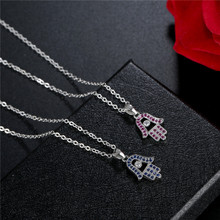 FYM High Quality 2 Colors Hand Shape Unisex Men & Women Cubic Zirconia Necklace & Pendants Elegant Wedding Jewelry For party fym high quality fashion snow flower shape 4 colors necklace