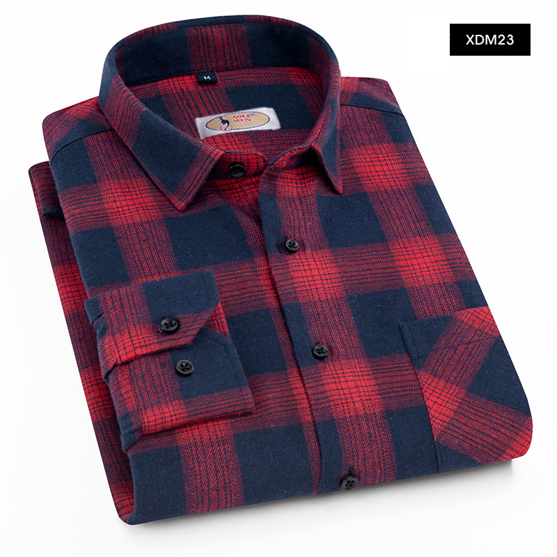 AOLIWEN Plaid Casual Shirt Men's Long Sleeve Summer Shirt Fashion Plaid Shirt Cotton Soft Comfort Slim Fit Brushed Flannel Shirt