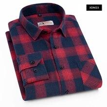 AOLIWEN Plaid Casual shirt mens Long sleeve summer Fashion plaid cotton Soft Comfort Slim Fit Brushed Flannel Shirt