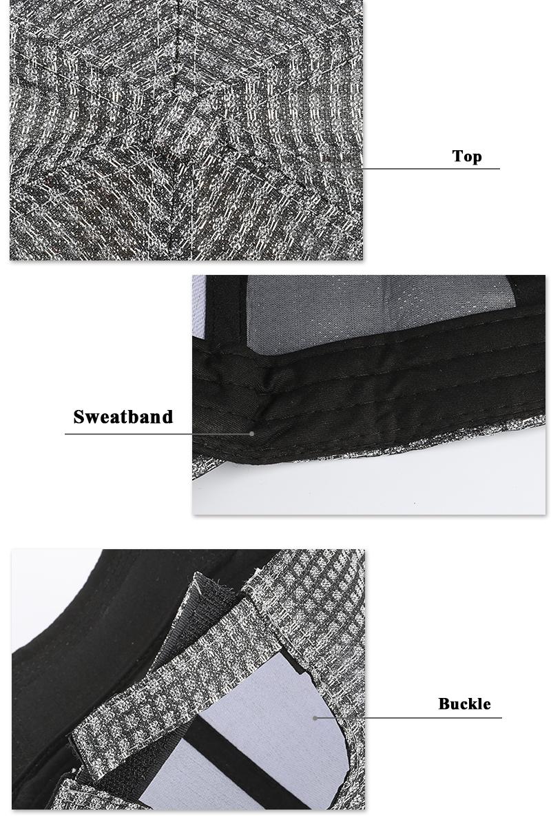 Womens Stylish Jacquard Baseball Cap - Button Top, Sweatband and Velcro Closure Detail Views