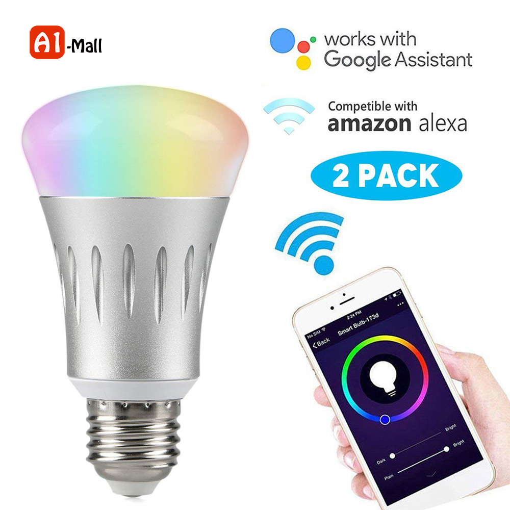 Smart WiFi Control Night Light RGB Multi Color Dimmable Timer Switch Smart LED Light Bulb Compatible for Alexa and google E27 7W
