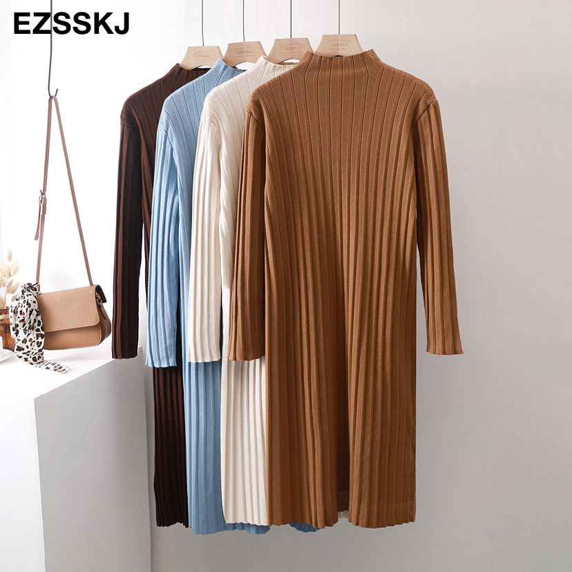 Chic Oversize Thick Long Sweater Dress Women Half-high Autumn Winter Straight Sweater Dress Female Casual Loose Knit Dress