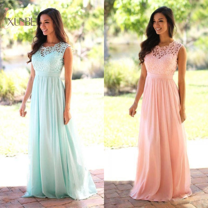 Chiffon Long   Bridesmaid     Dresses   For Women 2019 Pink Blue Wedding Formal Party Gowns Vestido Longo Under 50 New