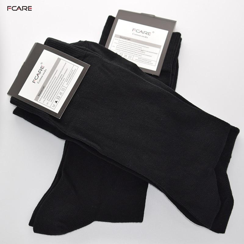 Fcare 8PCS=4 pairs 43 to 46 EU size black combed cotton men dress   socks   crew   socks   meias masculina sokken heren