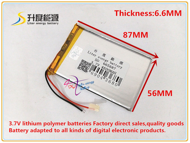 3.7V 4600mAH 665687 Polymer lithium ion / Li-ion battery for power bank tablet pc mp4 cell phone speaker gps dvd
