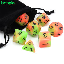 7pcs/set Glowing Polyhedral Dice Luminous DnD Dice Set for MTG DND Dungeons & Dragons Role Playing Game with Drawstring Bag(China)