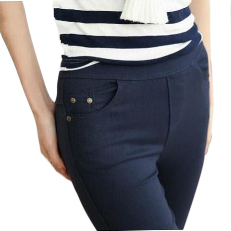 Autumn Fashion Pencil Jeans Woman Candy Colored Mid Waist Full Length Zipper Slim Fit Skinny Women Pants