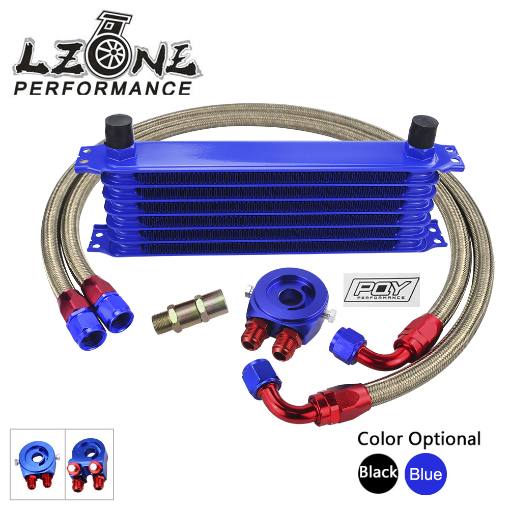 LZONE - UNIVERSAL 7 ROWS OIL COOLER KIT + OIL FILTER SANDWICH ADAPTER + NYLON STAINLESS STEEL BRAIDED OIL HOSE W/PQY STICKER+BOX vr universal 13 rows oil cooler oil filter sandwich adapter ss nylon stainless steel braided an10 hose with pqy sticker box