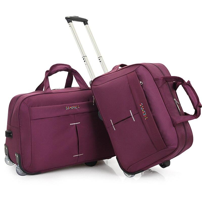 Sac de voyage de mode hommes sac à roulettes roue grande cravate sac de chariot pliant réservoir de bagages mode sac de voyage rouleau étanche