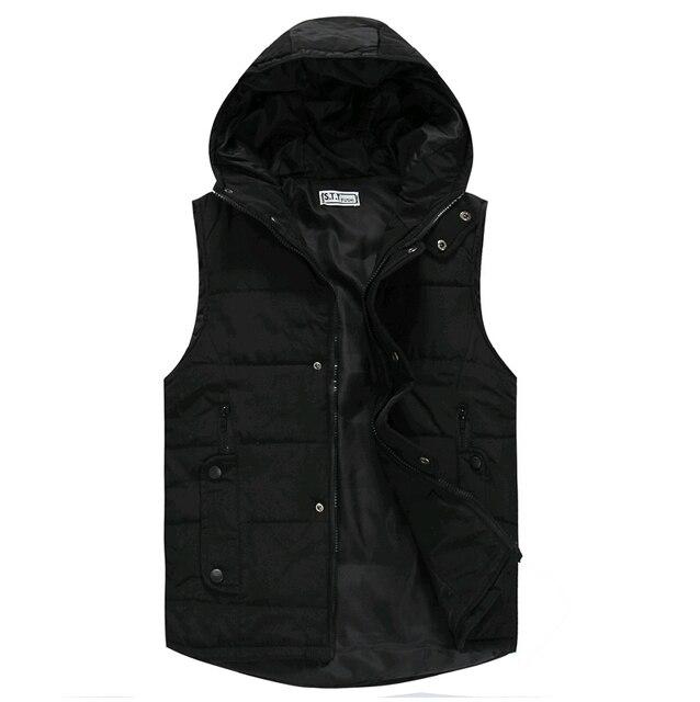 free ship 2017 winter casual waistcoat men down parka jacket mens vest sleeveless hoodie cool jackets for men,white black,S-XXL