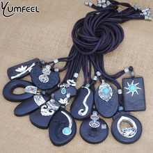 Yumfeel Brand Bohemia Vintage Necklaces Handmade Tibetan Carving Black Sandalwood Pendants & Necklaces Women Jewelry Long Gifts(China)