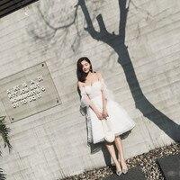 Просто Половина рукавом Милая Белое платье с открытой спиной аппликации с Бисер вечерние пляжное платье трапециевидной формы короткие пла