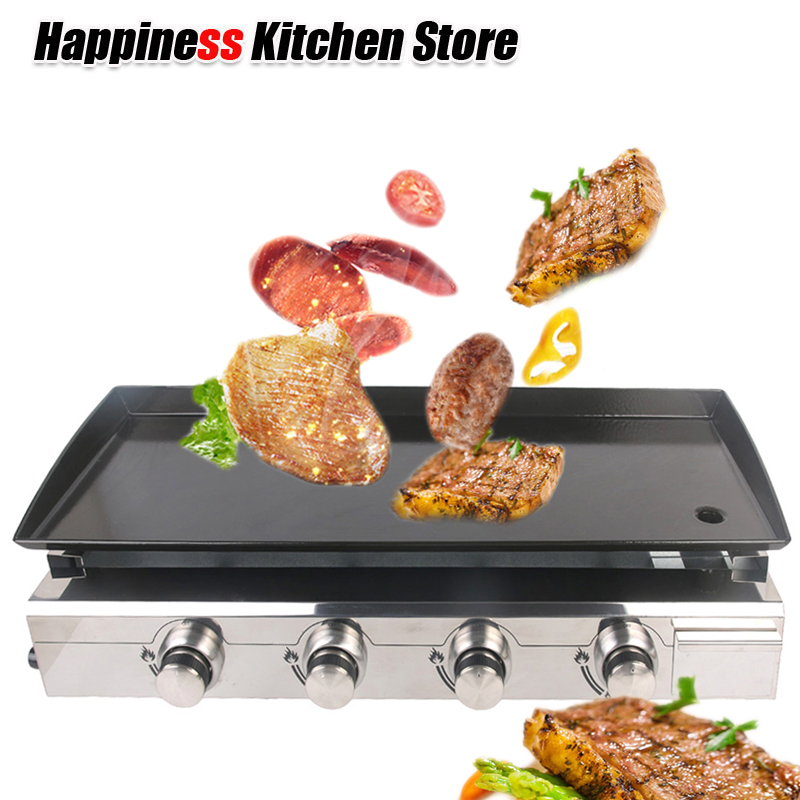 New Gas BBQ Grill 4 burners LPG Griddle Plancha Stainless Steel Body +burner Cast Iron Hot Plate Outdoor Barbecue Tools