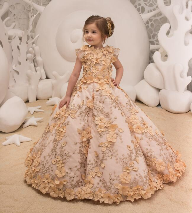 Fluffy Ball Gown Pageant Dresses for Girls Luxury Glitz Lace Appliques Beaded Birthday Flower Girl Dresses for Wedding vintage flower girl dresses for wedding jewel neck ankle length girls pageant gown with lace beaded sash backless communion gown